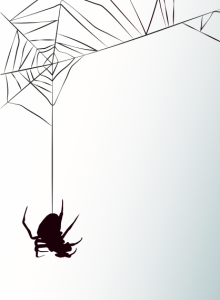 The black silhouette of a spider hanging from his web on a gray background