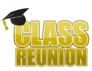 """""""CLASS REUNION' written in gold bubble letters with a black graduation cap on the C on a white background"""