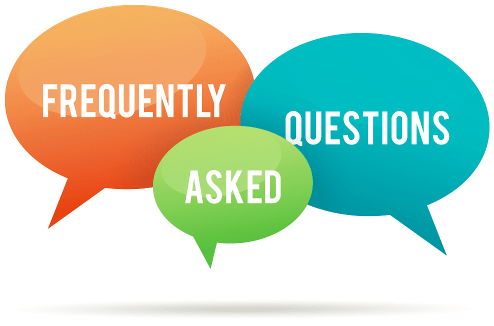 """Frequently"" ""Asked"" and ""Questions"" written in orange, green, and blue speech bubbles, respectively, on a white background"